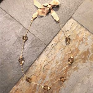 JCrew ribbon tie faceted bead necklace